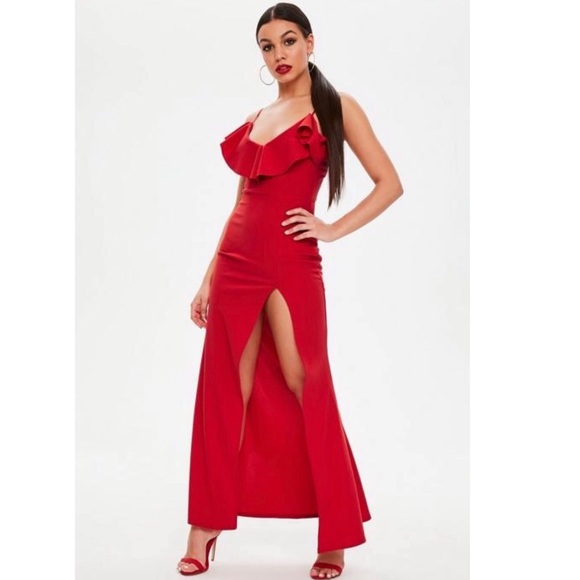 c72e969a0f4 Missguided Red Ruffle Maxi Dress NWT